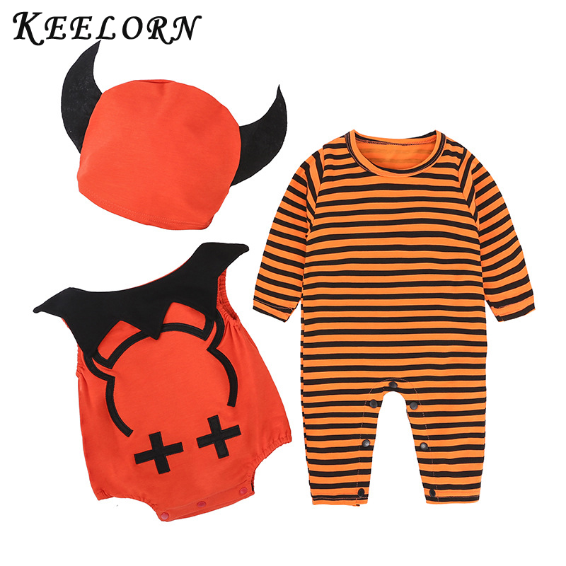Keelorn Costume Kindergarten Halloween Birthday-Party Jumpsuits Rompers Pumpkin Baby