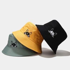 2020 novo cão impresso padrão balde chapéu para mulher casal primavera verão pescador chapéus coreano chapéu de sol hip hop bob boné