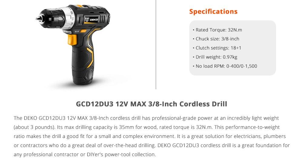 DEKO GCD12DU3 12V Max Cordless Drill