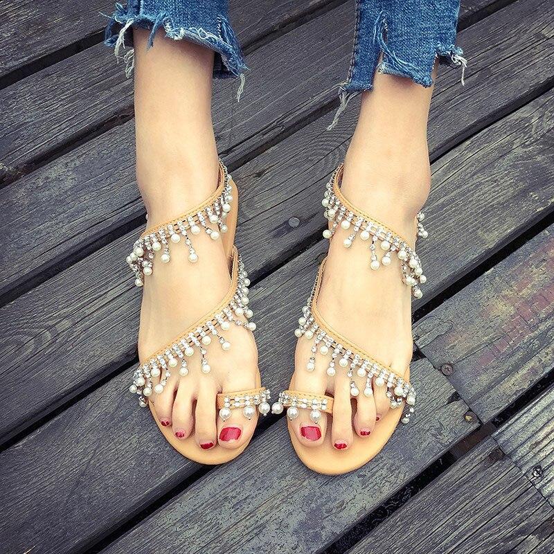 Hot Style 2020 Pearl Shoes Roman Ladies Sandals Flat Heel Shoes Flip-toe Cover Toe Beach Sandals
