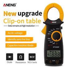 ANENG DT3266F Mini Multimetro Digitale Ampere Elettrico Clamp Meter AC / DC Tensione NCV Resistenza Diodo Tester con Buzzer