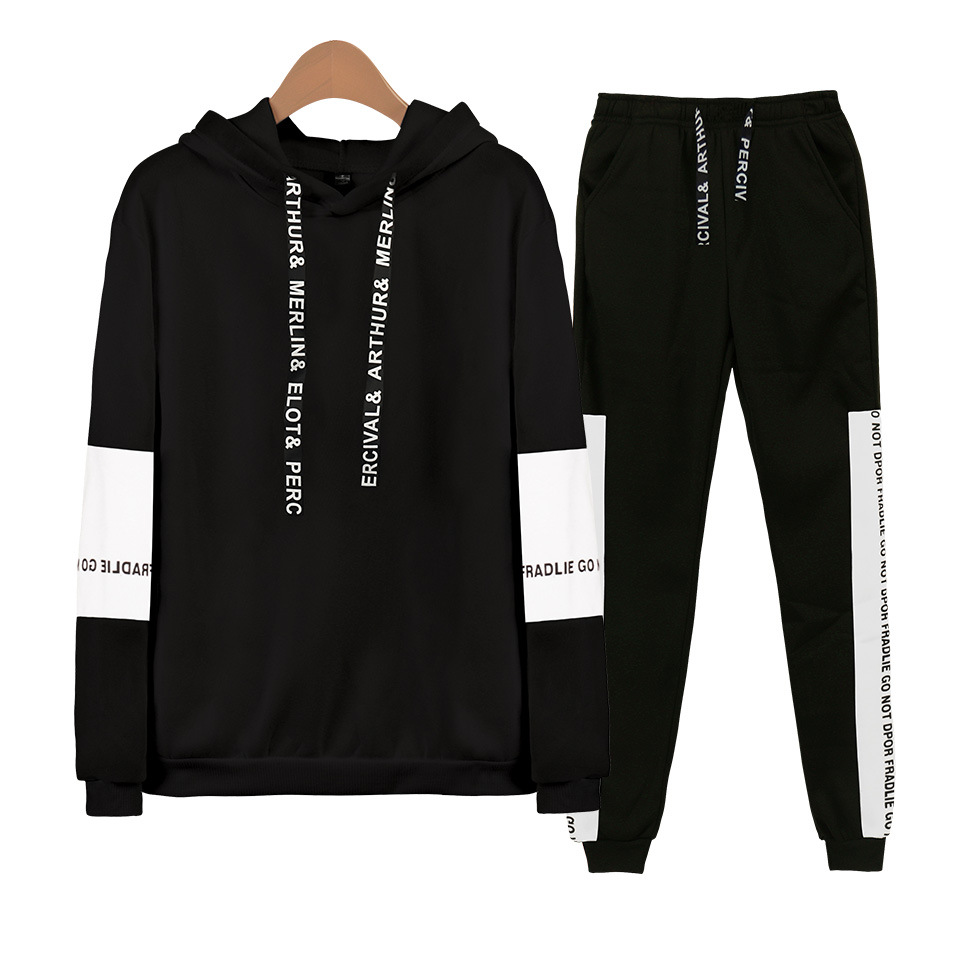 2019 Spring And Autumn Hot Sales New Style MEN'S Suit Teenager Loose-Fit Fashion Casual Hooded Sweater Sweatpants Set