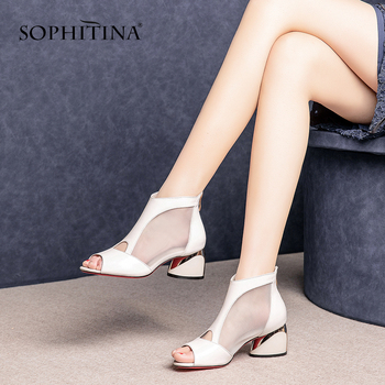 SOPHITINA Classcs Mesh Women's Sandals High Quality Cow Leather Peep Toe Square Heel Shoes Fashion Summer Zipper Sandals SO466