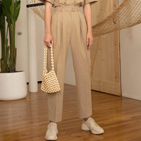 New Women Overalls Style Trousers High Waist Classic Pants Street Office Ladies Loose Trousers Solid Color Fashion Streetwear