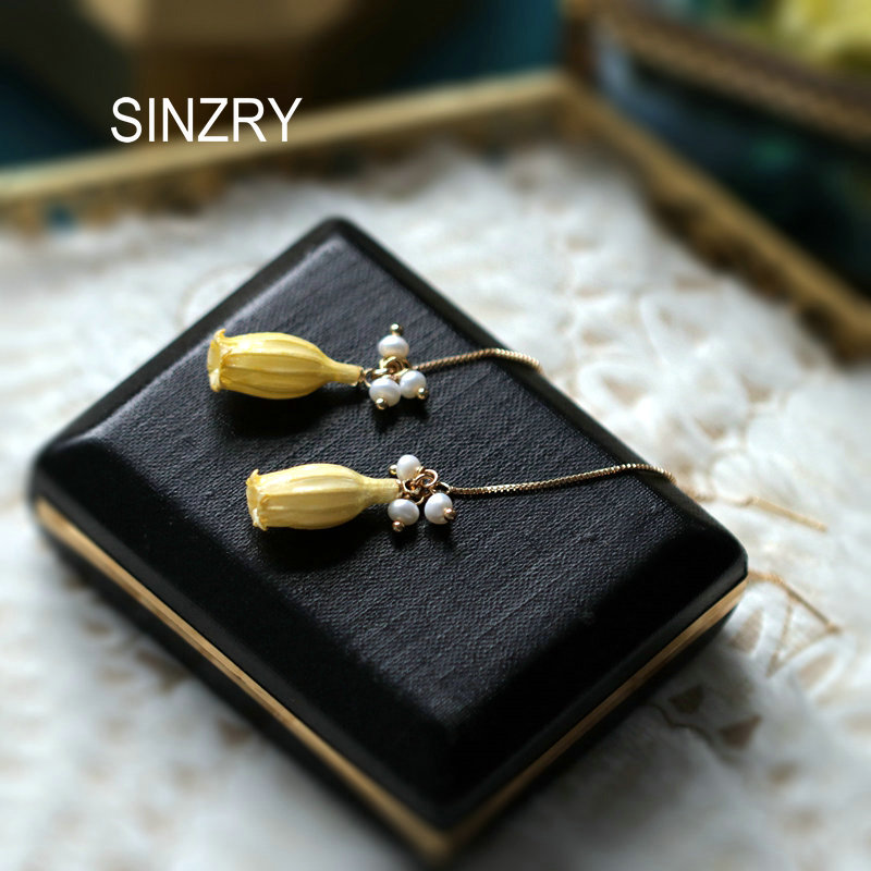 SINZRY NEW Handmade Natural Pearl Preserved Valley Lily Flower Drop Earring Line Women Jewel