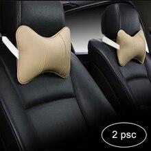 2pcs Car Neck Pillow bone Headrest care Seat Head Perforating Design PU Leather pillow Auto Interior seat Safety Accessories