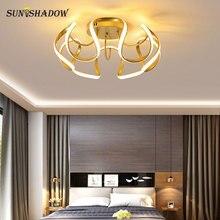 Золото современная рама из светодиодов люстра для дома гостиная столовая спальня подвесной светильник новый потолочный светильник освещение