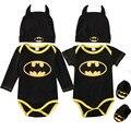 Модная одежда для маленьких мальчиков комбинезон хлопковые топы + туфли + шапка; Комплект одежды из 3 предметов, комплект одежды для новорожд...