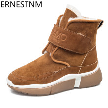 ERNESTNM HOT Winter Vrouwen Enkel Sneeuw Boot Bont Wiggen Warme Pluche Rubber Platform Lace Up Sexy Punk Zwarte Dames Schoen botas Mujer(China)