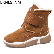 ERNESTNM HOT Winter Women Ankle Snow Boot Fur Wedges Warm Plush Rubber Platform Lace Up Sexy Punk Black Ladies Shoe Botas Mujer(China)