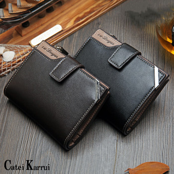 Catei Karrui 2020 NEW Vintage Men's Short Wallet Men Genuine Leather Multi-Card Bit Retro Card Holder Clutch Wallets Purse 2017 hot fashion men wallet genuine leather multi bit money clip short card luxury brand clutch purse bag man vintage clutches