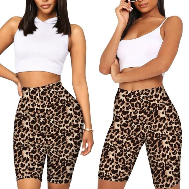 Women High Waist Biker Shorts Snakeskin Leopard Tie-Dye Digital Printed Workout Shorts Female Fitness Skinny Cycling Streetwear 2