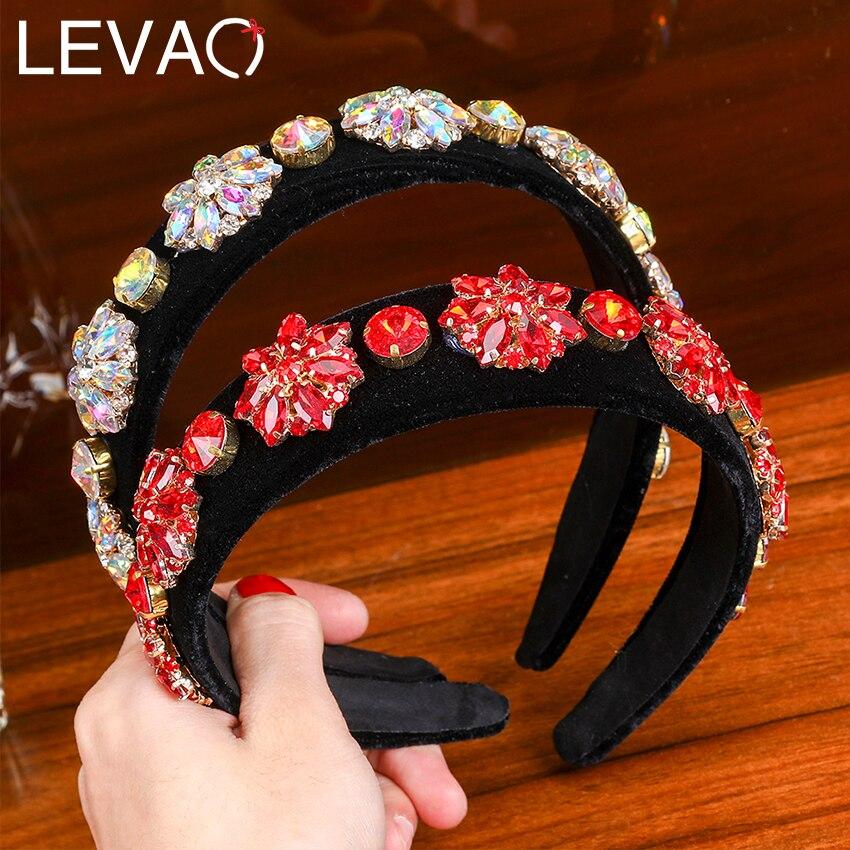 Levao Baroque Luxury Rhinestone Statement Headband New Crystal Flower Geometric Headband Women Sparkly Tiara For Wedding