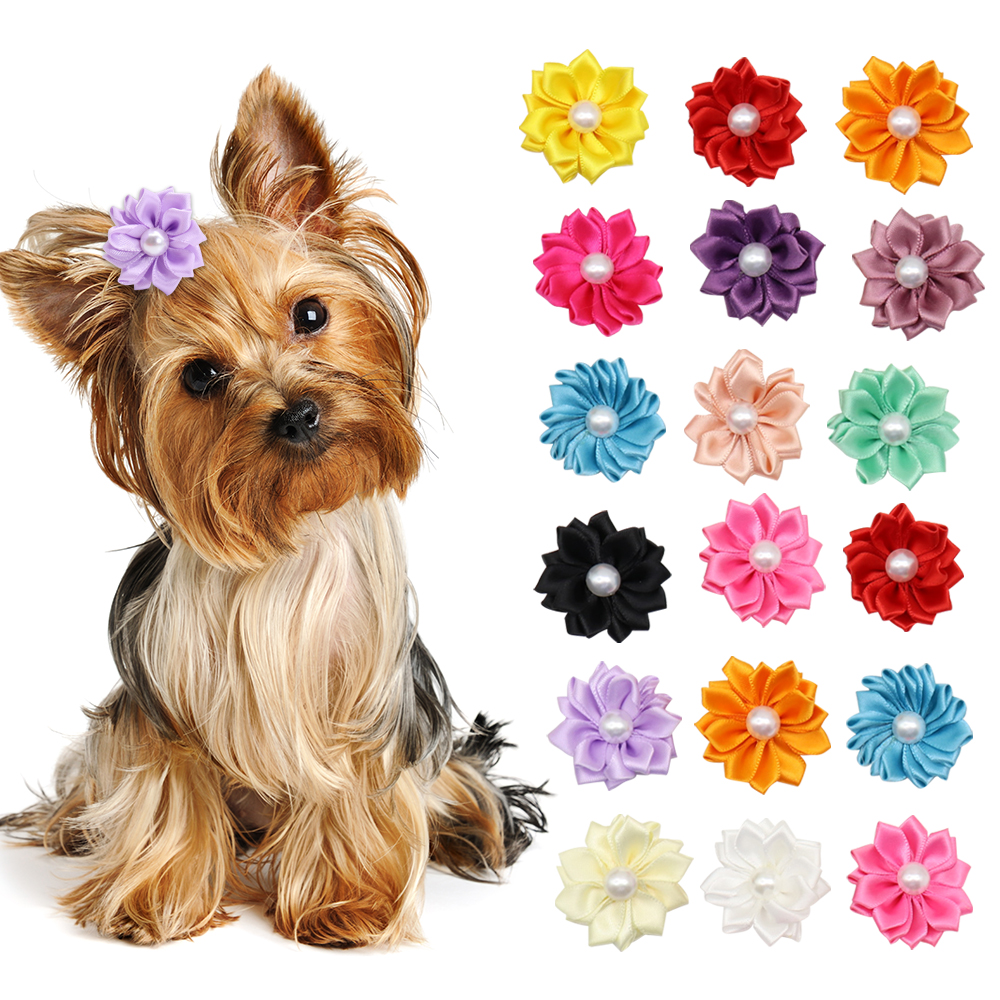 Flower Dog Hair Bows Long Hair Pet Dogs Bows Rubber Band Cat Puppy Hair Clips Pet Grooming Bow Dog Accessories 20pcs/lot