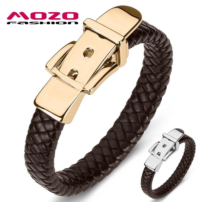 MOZO FASHION 2020 Classic Genuine Leather Belt Buckle Bracelet For Men Hand Charm Jewelry Braided Handmade Wholesale Price 170