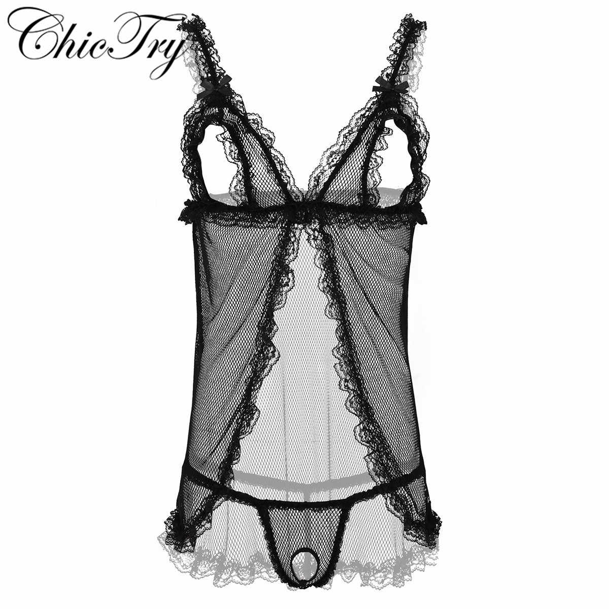 CHICTRY Womens Lingerie Lace Floral Sheer High Cut Leotard Bodysuit Nightwear