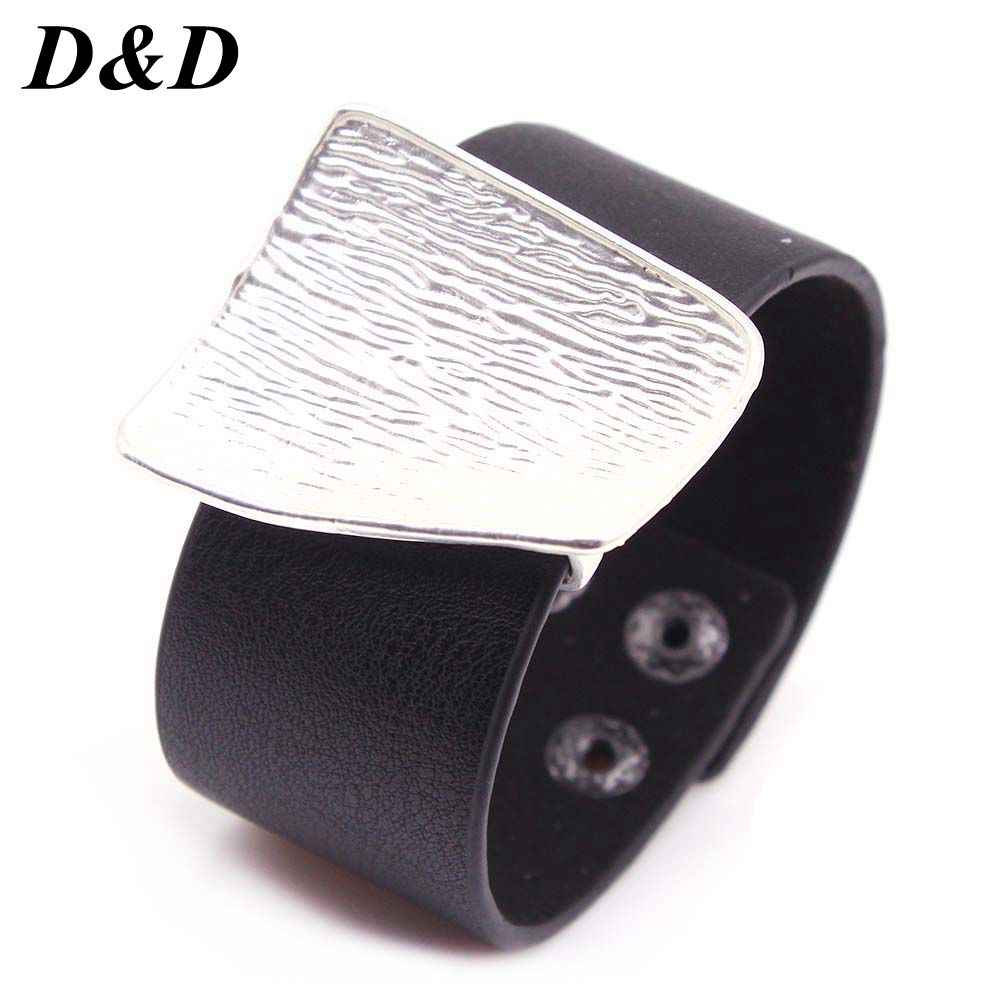 2019 New Charm Black Leather Bracelet for Women Femme Fashion Cool Clasp Wristband Bracelets Bangles