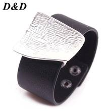 2019 New Charm Black Leather Bracelet for Women Femme Fashion Cool Clasp Wristband Bracelets Bangles(China)