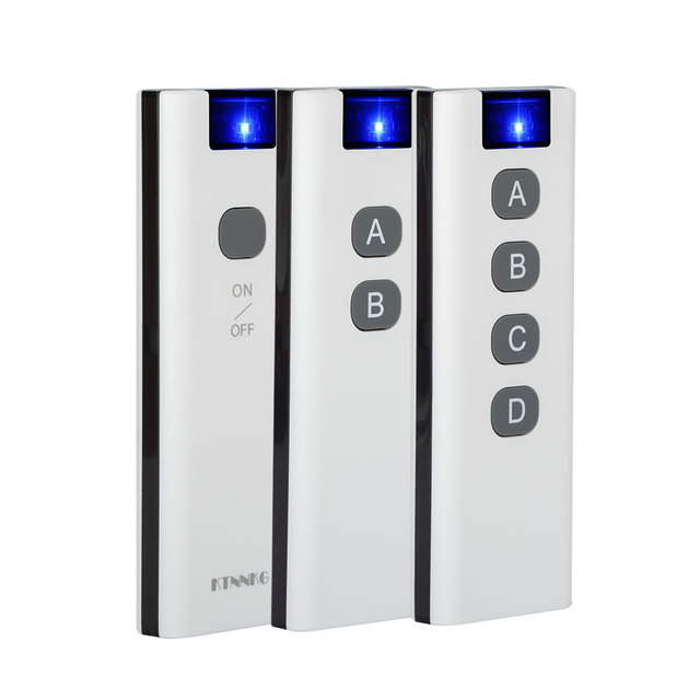 KTNNKG 433Mhz 200m wireless remote control with 1/2/4/6/8/10 buttons, wall mount bracket, smart home.