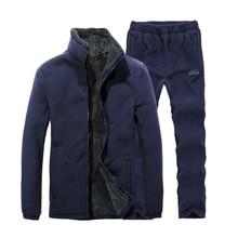 цена на Men New Winter Warm Fleece Fur Jacket Outdoor Camp Hiking Trekking Skiing Climb Fish Coat Suit Travel Pant Man Thermal Trousers