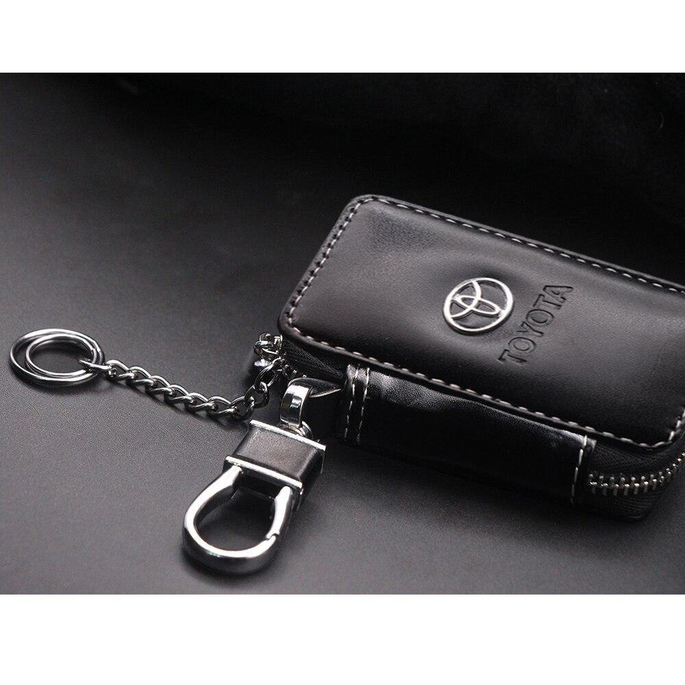 Cuir voiture clé portefeuilles porte-clés clés organisateur porte-clés couvre fermeture éclair clé coque de protection sac à main pour Toyota Camry Corolla RAV4