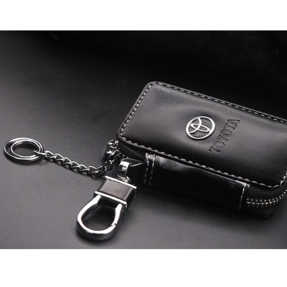Leather Car Key Wallets Key Holder Keys Organizer Keychain Covers Zipper Key Case Bag Pouch Purse For Toyota Camry Corolla RAV4