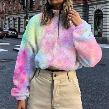 Fleece Tie Dye Crop Top Hoodie Women Plush Long Sleeve Crop Sweatshirt Loose Casual Pullover Wiinter drop shoulder raw hem rips crop hoodie