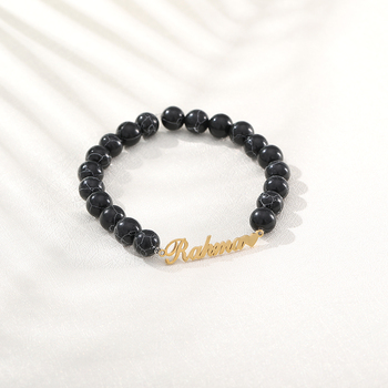 Gold Bracelet for Women Stainless Steel Men Beads Bracelet Wrist Beads Bracelet Custom Name Bracelet Fashion Jewelry for Her stainless steel bracelet men s bracelet women s bracelet elastic bracelet retro bracelet women s personality bracelet