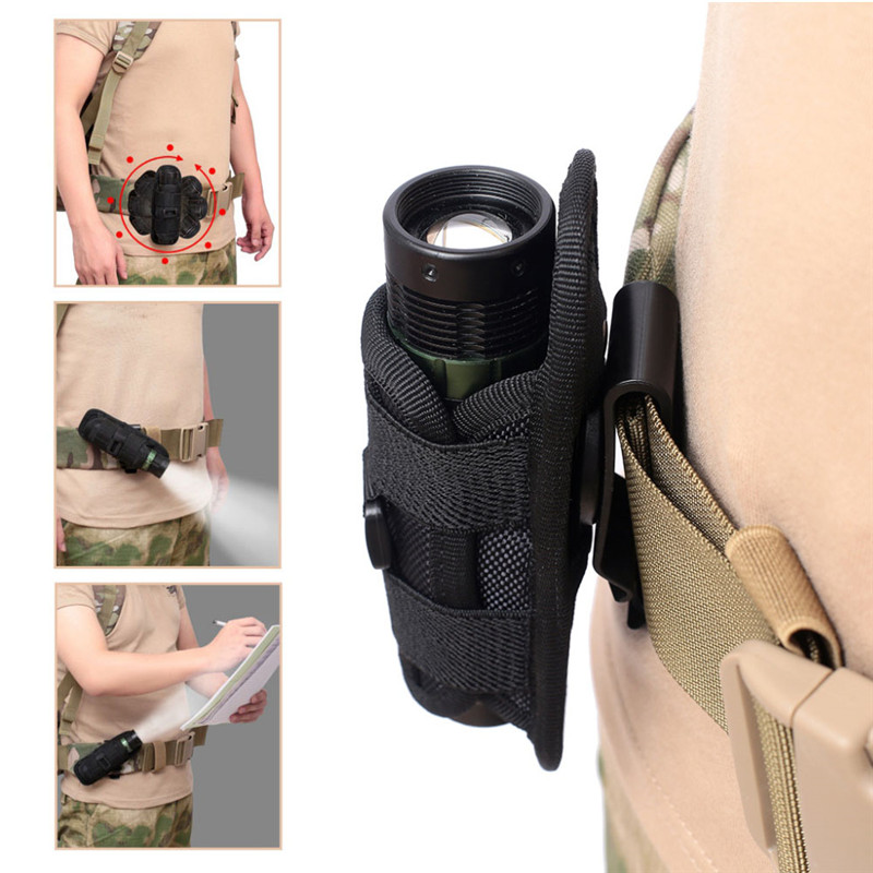 Tactical 360 Degrees Rotatable Flashlight Pouch Holster Torch Case Belt Portable Torch Cover Holder Hunting Lighting Accessories