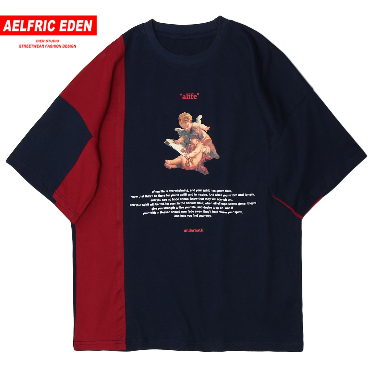 Aelfric Eden Patchwork Harajuku T Shirt Mens 2020 Hip Hop Streetwear Painting Printed Half Sleeve Loose Short Sleeve Tops Tees