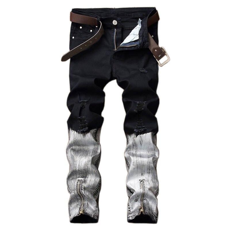 KIOVNO Men's Ripped Multi Color Jeans Pants Hip Hop Ankle Zipper Denim Trousers Male Patchwork