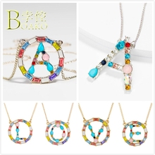 BOAKO Colorful Crystal Necklace Women Long Chain Initial Letter Engagement Statement Girl Sweater B5