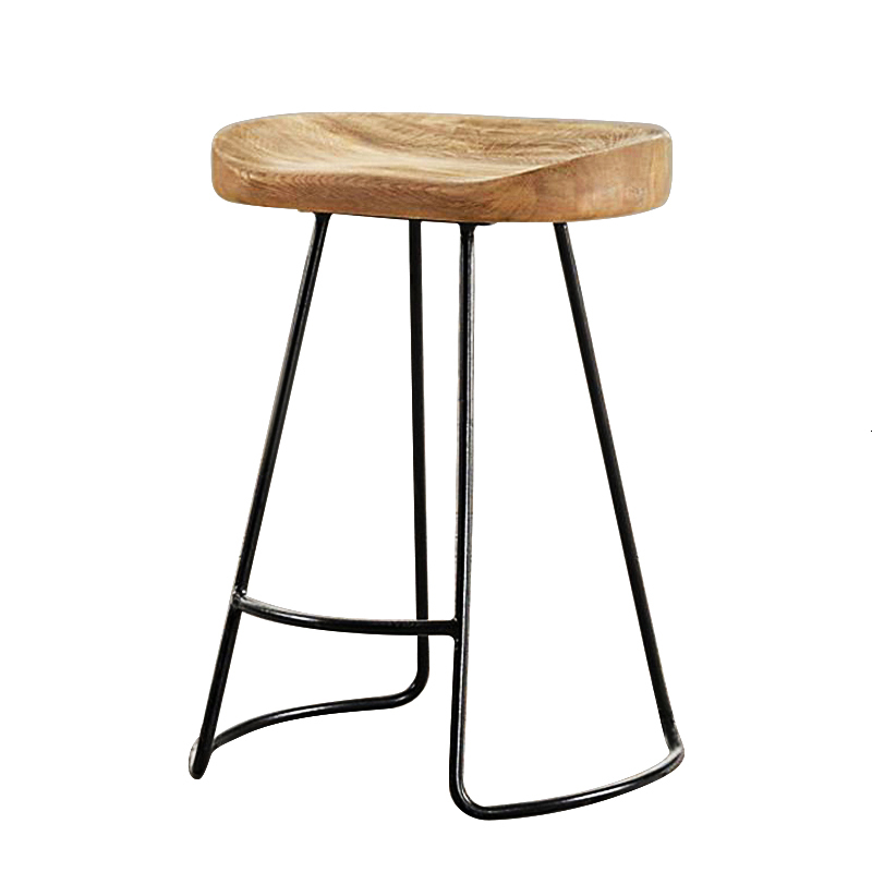 H Modern Simple Iron Foot Stool Surface Solid Wood Bar  Home High Chair Coffee Shop Cold Drink