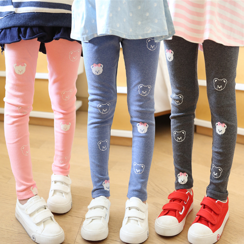 Vidmid Girls Spring And Autumn Bear Cotton Leggings New Korean Version Children's Casual Bottoming Pants Trousers Cothes P206 1