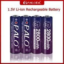 Palo 100% original 1.5v aa bateria recarregável 1.5v li-ion baterias para brinquedo elétrico lanterna relógio mouse câmera calculadora
