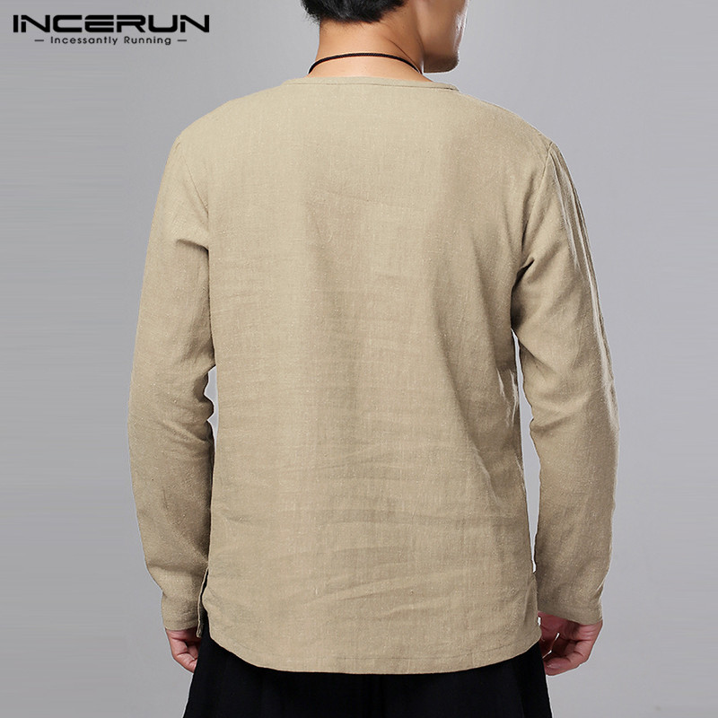 INCERUN Men 39 s Shirt Long Sleeve Solid Button Breathable Kung Fu Vintage Tops Cotton Chinese Style Men Casual Shirts Camisa 2019 in Casual Shirts from Men 39 s Clothing