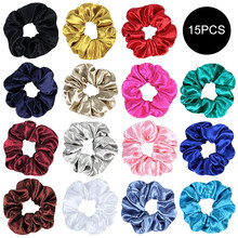 2019 Fashion Retro Solid Color Scrunchies Bright Color Elastic Hair Ties Hair Accessories For Women Girls Hairbands Hair Rope(China)