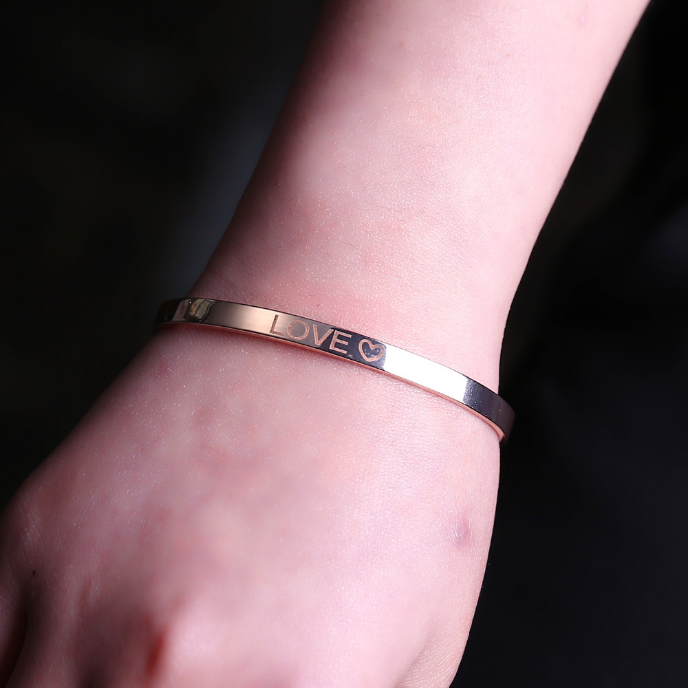 Personalized Letters Engraved Bangle Custom Name Stainless Steel Bracelet Fashion Bar Charm Cuff Bracelets Lover Women Best Gift in Bangles from Jewelry Accessories