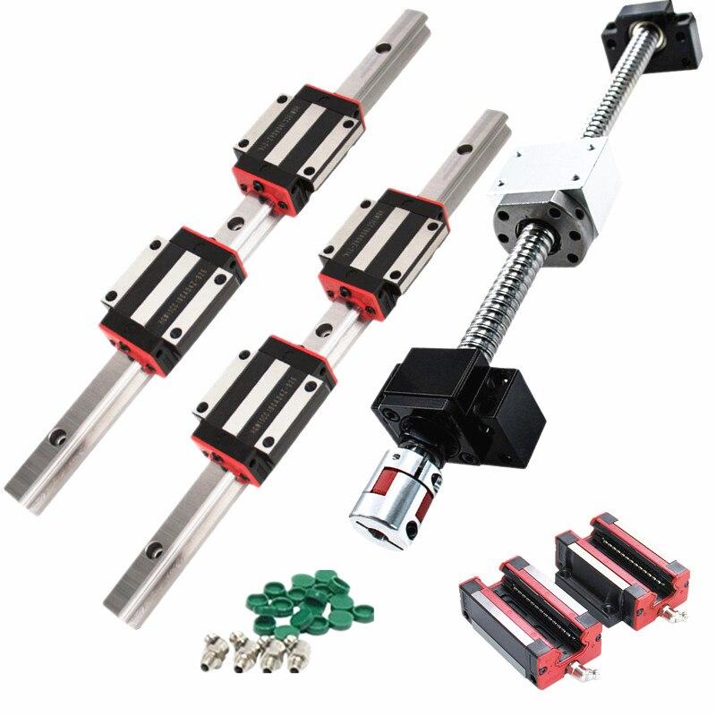 Hgw15ca 2 15mm HGR15 hgh15ca lineares guia rails + 1 sfu1605 bola screw nut habitação qualquer comprimento + suporte BK/BF12 + acopladores para CNC
