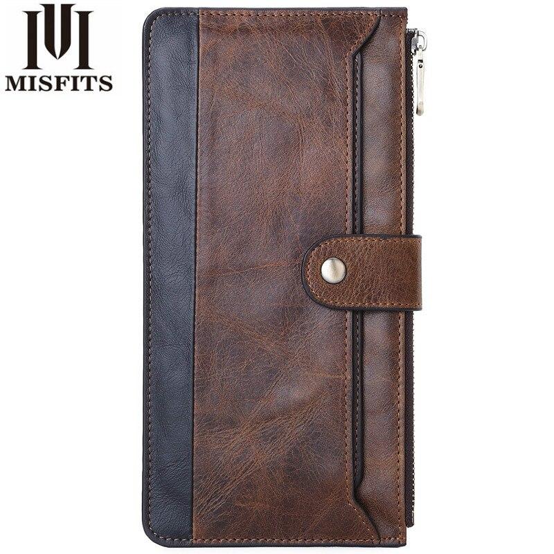 Длинный кошелек MISFITS, деловой мужской тонкий кошелек из натуральной кожи, роскошные брендовые дизайнерские удобные тонкие мужские кошельки...