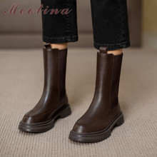 Ladies Boots Shoes Flats Platform Meotina Black Autumn Winter Size-40 Genuine-Leather