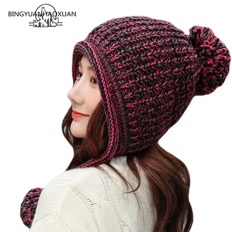 BINGYUANHAOXUAN Women's Winter Cable Knitted Pom Pom Beanie Hat Earflap Caps