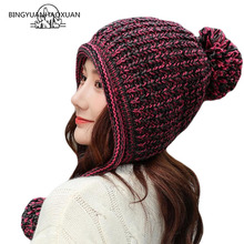 BINGYUANHAOXUAN Womens Winter Cable Knitted Pom Beanie Hat Earflap Caps