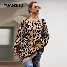 YUANSHU 2020 Casual Big Size Pullovers Knitted Leopard Print Women Sweater Top O Neck Spring Autumn Loose Female Jumpers