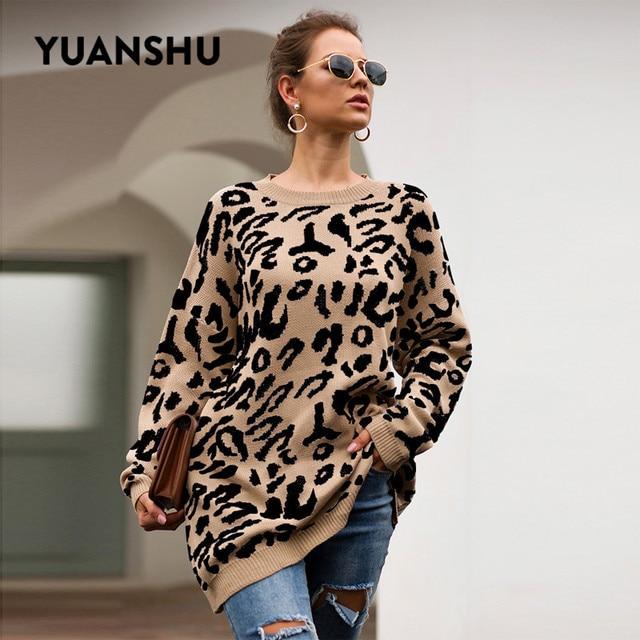 YUANSHU 2020 カジュアルなビッグサイズプルオーバーニットヒョウ柄の女性のセータートップ O ネック春秋のルース女性ジャンパー