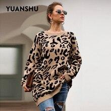 Yuanshu 2020 Casual Grande Formato Pullover Lavorato a Maglia Della Stampa Del Leopardo Del Maglione Delle Donne Top O Collo di Autunno Della Molla Allentato Femminile Pullover
