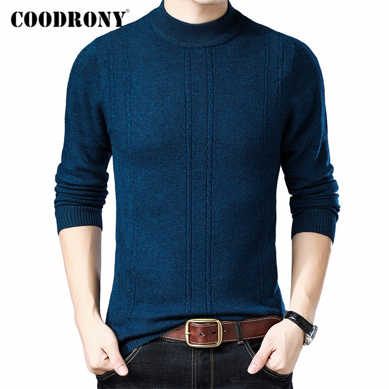 COODRONY Brand Pure Merino Wool Turtleneck Sweater Men Autumn Winter Thick Warm Cashmere Pullover Men Sweaters Pull Homme 93025