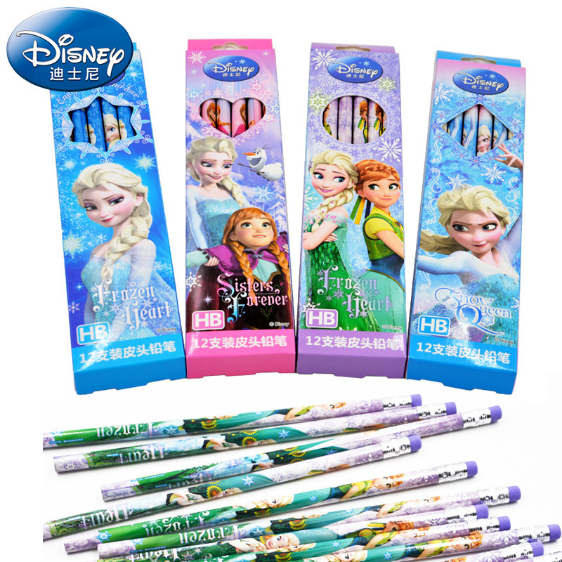 Cartoon Princess Frozen Elsa Anna Wooden Lead Pencils Disney Student School Supplies Children's Painting Supplies Boy Girl Gift