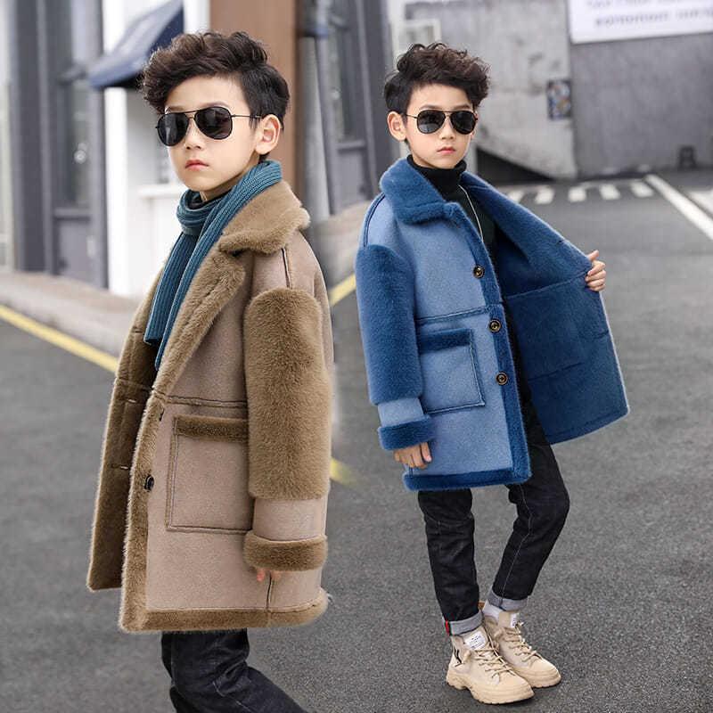 4-17T Boys Woolen Coat For Winter 2020 New Fashion Cashmere Fur Plus Velvet Warm Jacket Blue Black Brown High Quality