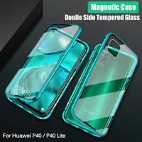 Double Sided Magnetic Adsorption Metal Case For Huawei P40 Lite Tempered Glass cover Case For Huawei nova 6se 7i p40lite p 40 Fitted Cases     -